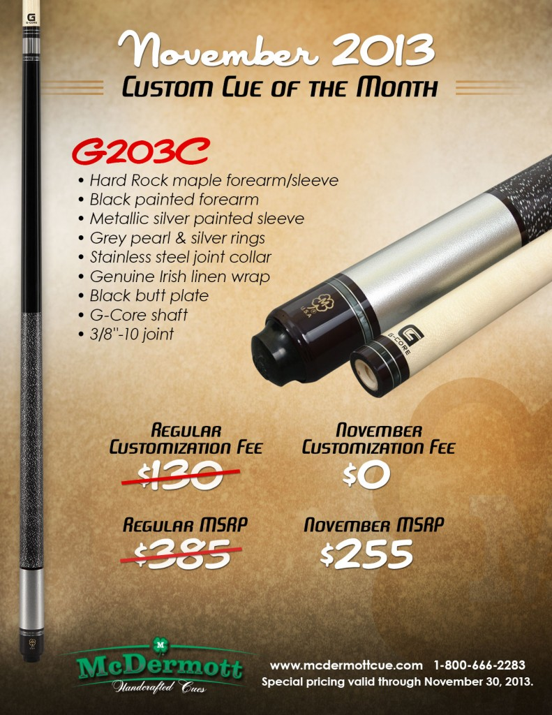 November Custom Cue of the Month