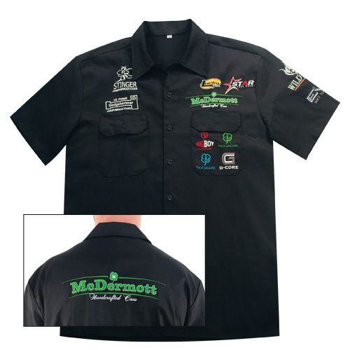 Clothing apparel mcdermott apparel t shirts polos for Mechanic shirts custom name patch