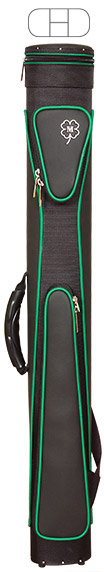Black cue case with green edging