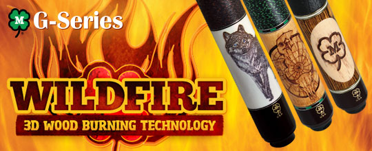 American Made Wildfire Wood Carving Pool Cues