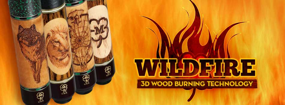 Wildfire 3D engraved pool cues